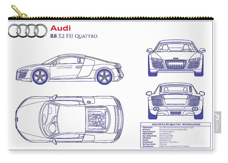 Audi r8 blueprint carry all pouch for sale by jon neidert audi r8 blueprint carry all pouch featuring the photograph audi r8 blueprint by jon neidert malvernweather Image collections