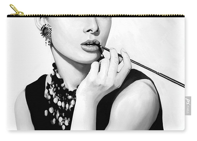 Audrey Hepburn Paintings Carry-all Pouch featuring the painting Audrey Hepburn Artwork by Sheraz A