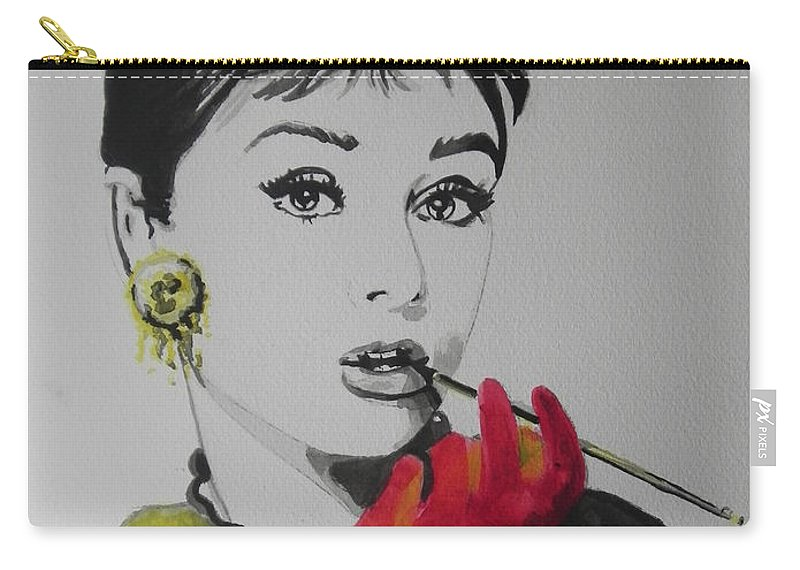 Watercolor Painting Carry-all Pouch featuring the painting Audrey Hepburn by Chrisann Ellis