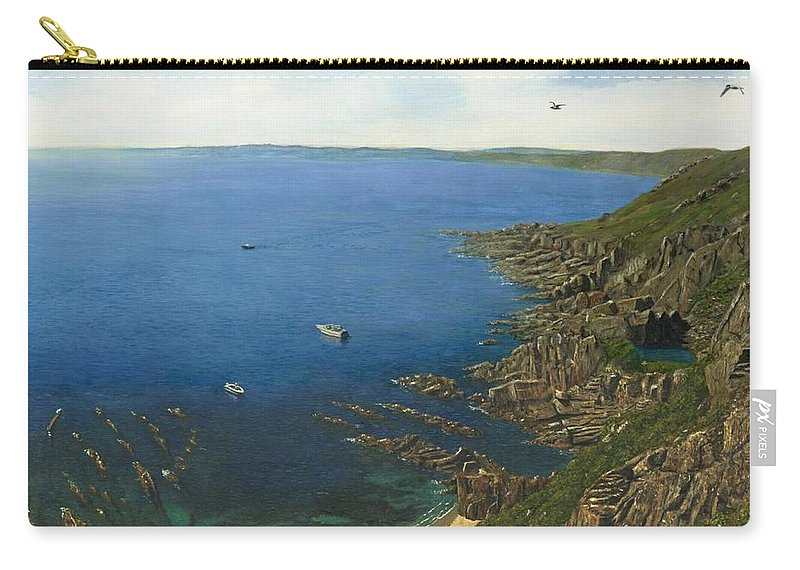 Landscape Carry-all Pouch featuring the painting August Afternoon At Whitsand Bay Cornwall by Richard Harpum