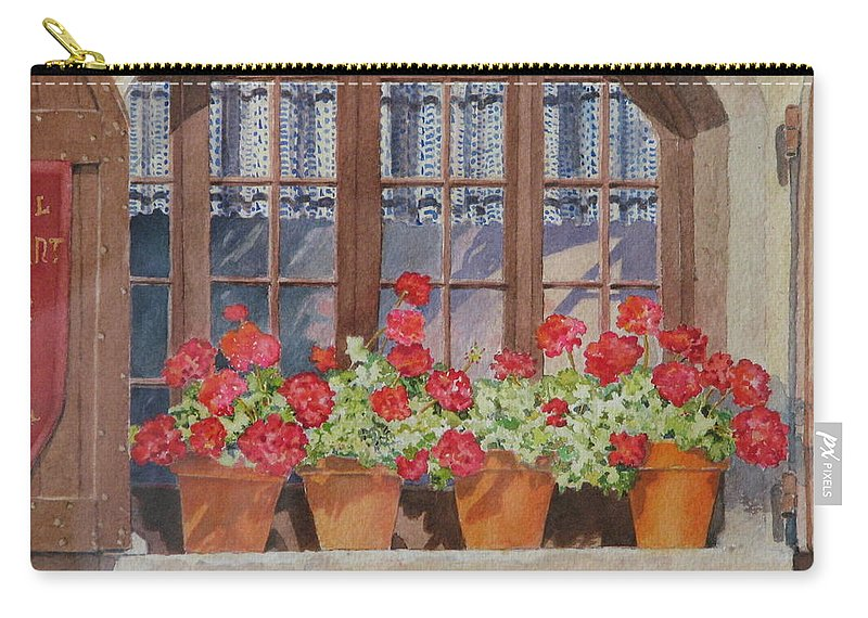 Watercolor Carry-all Pouch featuring the painting August At The Auberge by Mary Ellen Mueller Legault