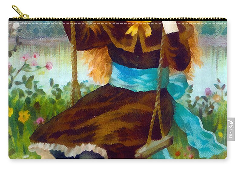 Vintage Trading Cards Carry-all Pouch featuring the digital art August Flowers by Vintage Trading Cards
