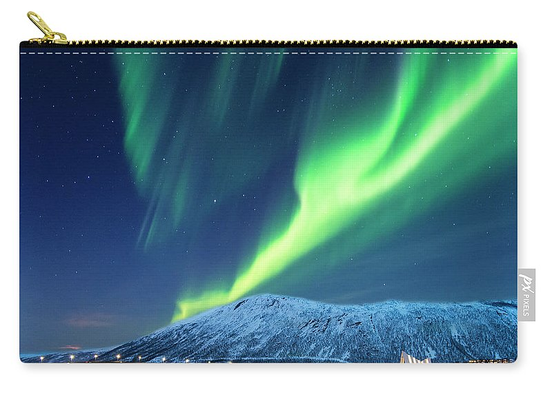 Scenics Carry-all Pouch featuring the photograph Aurora Borealis Over Tromso Port by Mike Hill