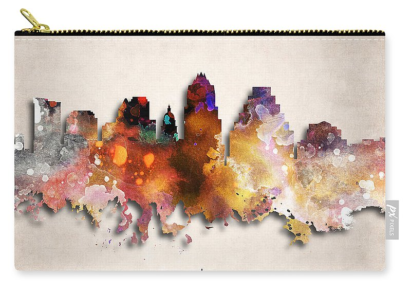 Austin Carry-all Pouch featuring the digital art Austin Painted City Skyline by World Art Prints And Designs