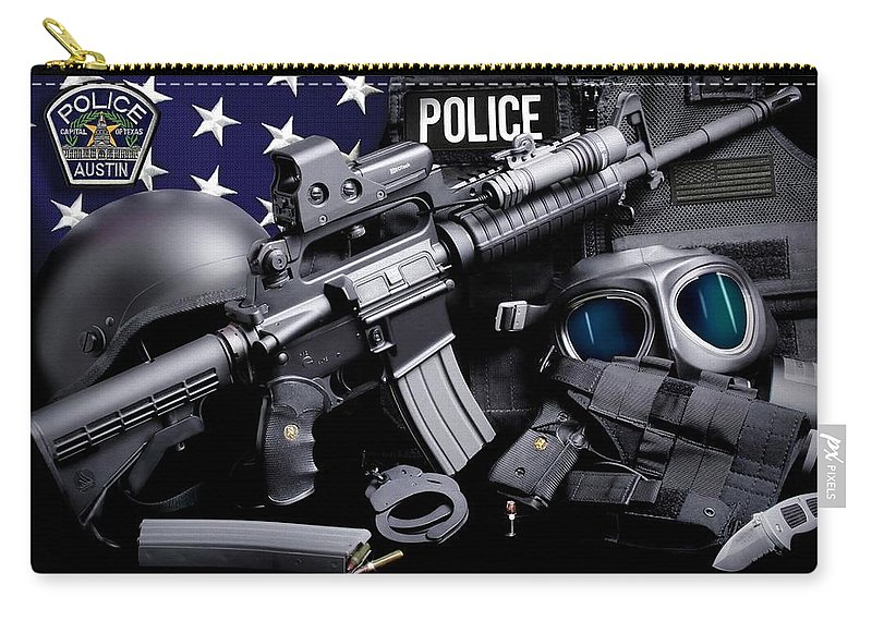 Austin Police Carry-all Pouch featuring the photograph Austin Police by Gary Yost