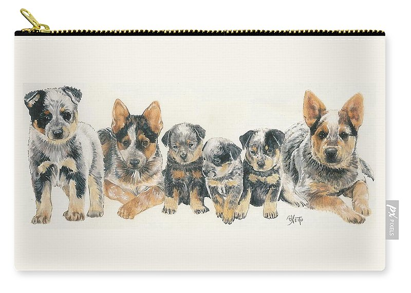 Herding Group Carry-all Pouch featuring the mixed media Australian Cattle Dog Puppies by Barbara Keith