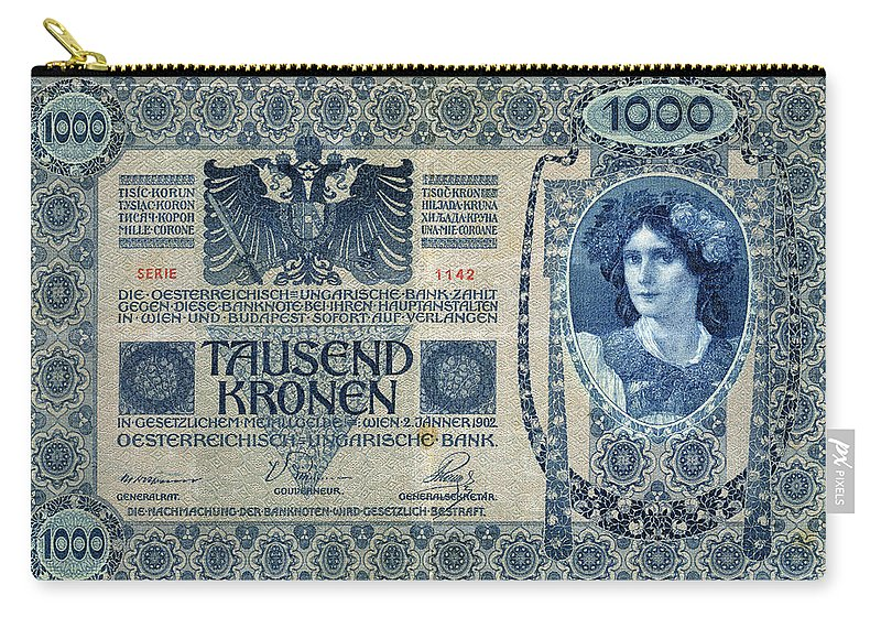 1902 Carry-all Pouch featuring the painting Austria Banknote, 1902 by Granger