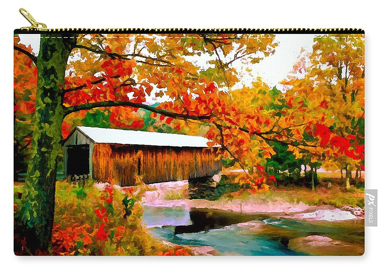 Authentic Carry-all Pouch featuring the painting Authentic Covered Bridge Vt by Bob and Nadine Johnston