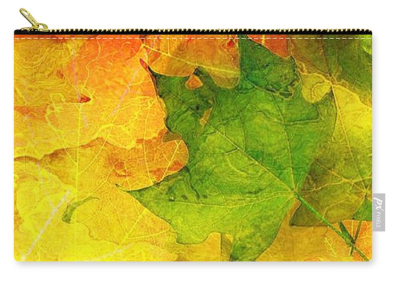 Fractal Art Carry-all Pouch featuring the digital art Autum Leaves by Elizabeth McTaggart