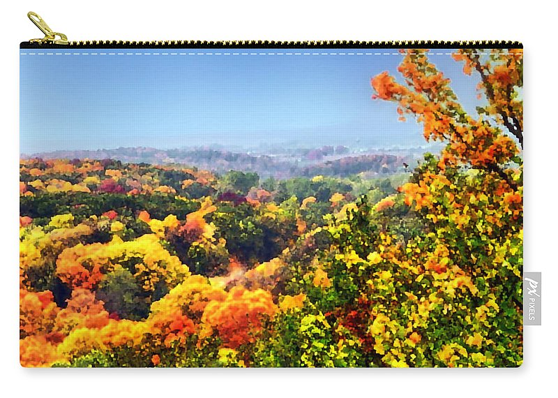 Autumn Carry-all Pouch featuring the photograph Autumn Across The Hills by Thomas Woolworth
