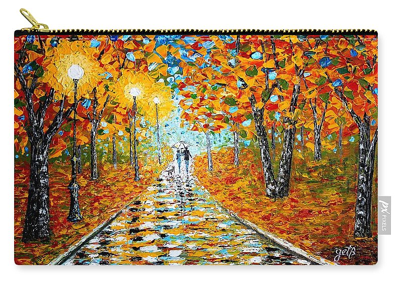 Impressionism Autumn Carry-all Pouch featuring the painting Autumn Beauty Original Palette Knife Painting by Georgeta Blanaru