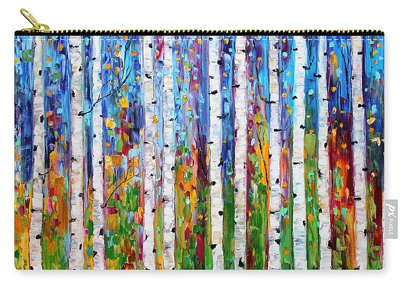 Birch Trees Carry-all Pouch featuring the painting Autumn Birch Trees Abstract by Karen Tarlton