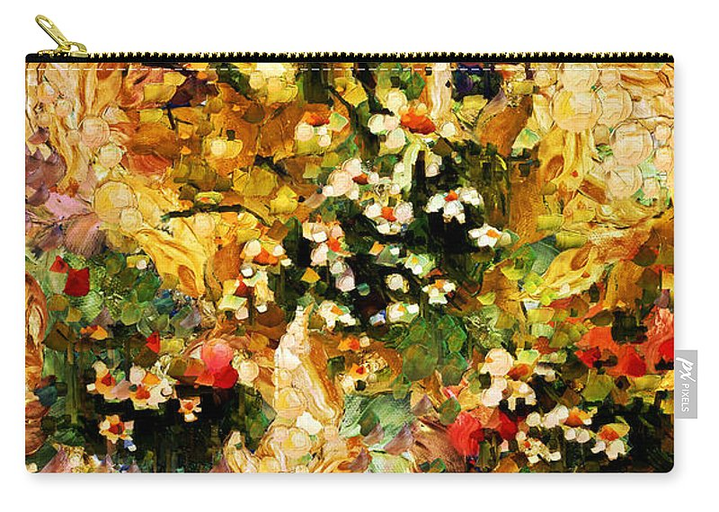 Abstract Carry-all Pouch featuring the mixed media Autumn Bounty - Abstract Expressionism by Georgiana Romanovna