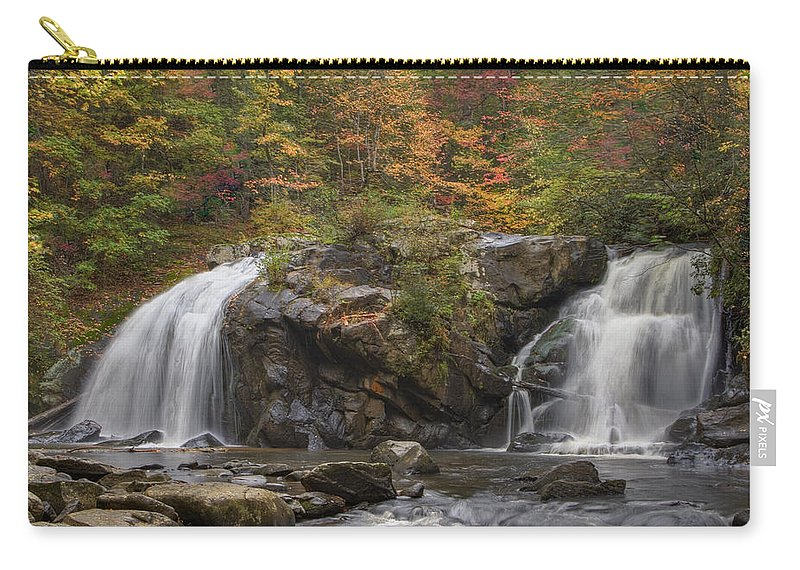 Appalachia Carry-all Pouch featuring the photograph Autumn Cascades by Debra and Dave Vanderlaan
