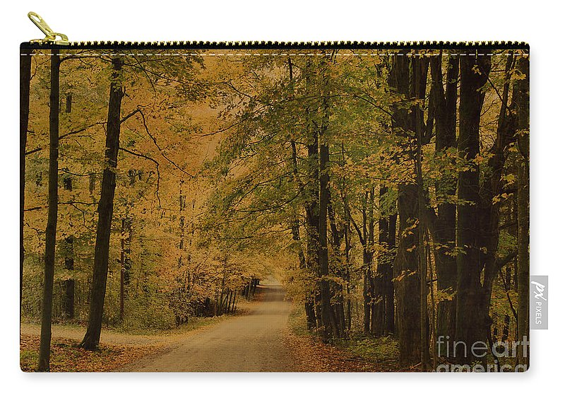 Country Road Carry-all Pouch featuring the photograph Autumn Country Road by Deborah Benoit
