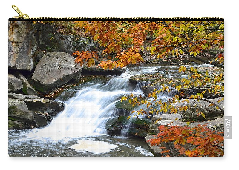 Waterfall Carry-all Pouch featuring the photograph Autumn Falls by Frozen in Time Fine Art Photography
