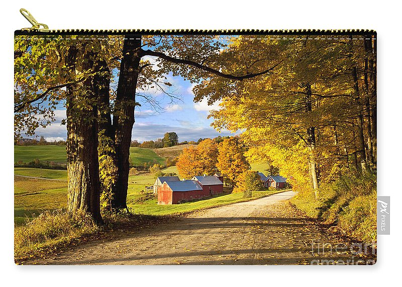 Autumn Carry-all Pouch featuring the photograph Autumn Farm In Vermont by Brian Jannsen