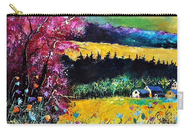 Landscape Carry-all Pouch featuring the painting Autumn Flowers by Pol Ledent