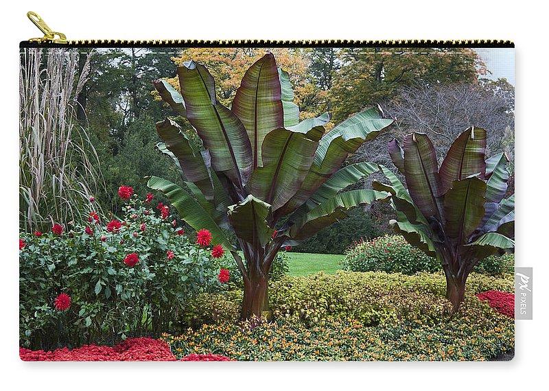 Autumn Garden Scene Carry-all Pouch featuring the photograph Autumn Garden by Sally Weigand