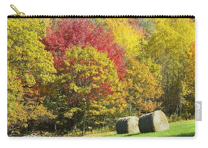 Agriculture Carry-all Pouch featuring the photograph Autumn Hay Being Harvested In Maine by Keith Webber Jr