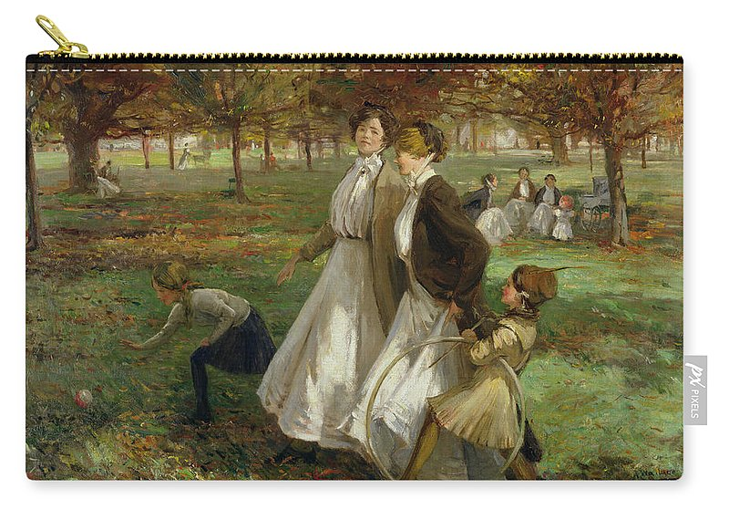 English Carry-all Pouch featuring the painting Autumn In Kensington Gardens by James Wallace