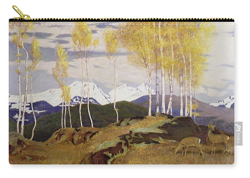 Snow Cap Carry-all Pouch featuring the painting Autumn In The Mountains by Adrian Scott Stokes