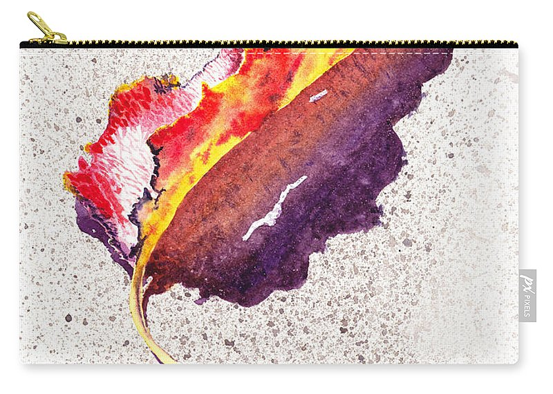 Fall Carry-all Pouch featuring the painting Autumn Leaf On Fire by Irina Sztukowski