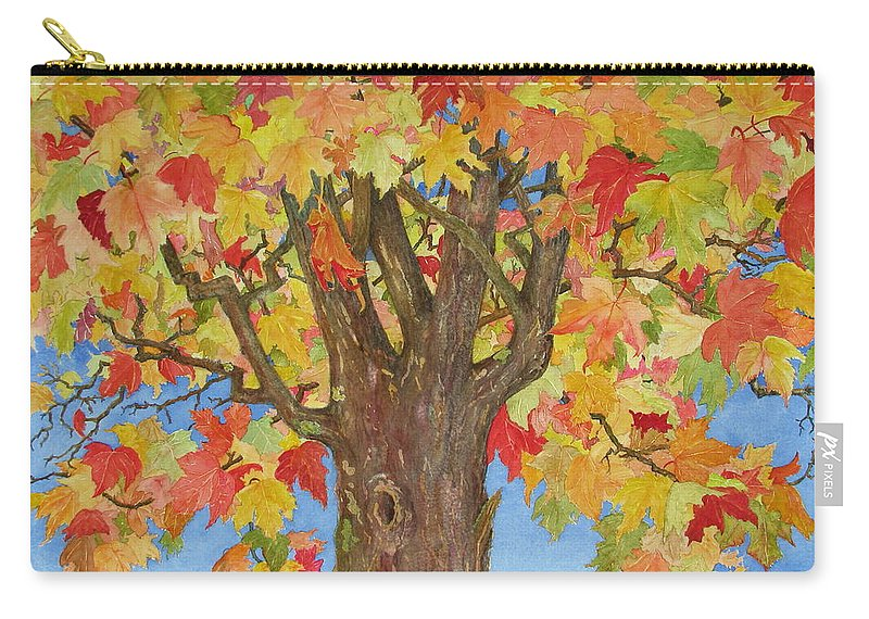 Leaves Carry-all Pouch featuring the painting Autumn Leaves 1 by Mary Ellen Mueller Legault