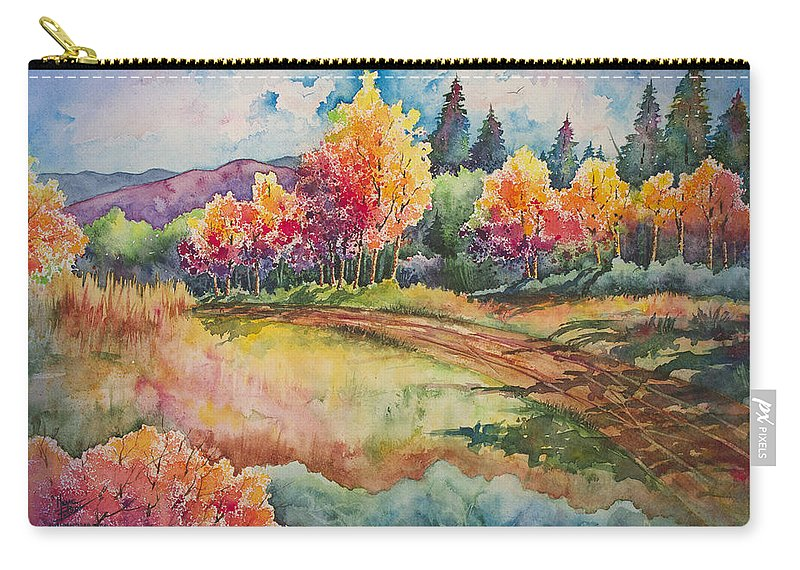 Watercolor Carry-all Pouch featuring the painting Autumn Near Taos by Michael Bulloch