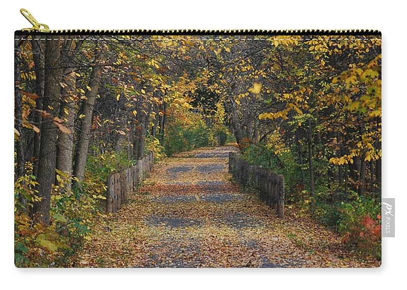 Autumn Carry-all Pouch featuring the photograph Autumn On Bike Trail by Patrice Charette