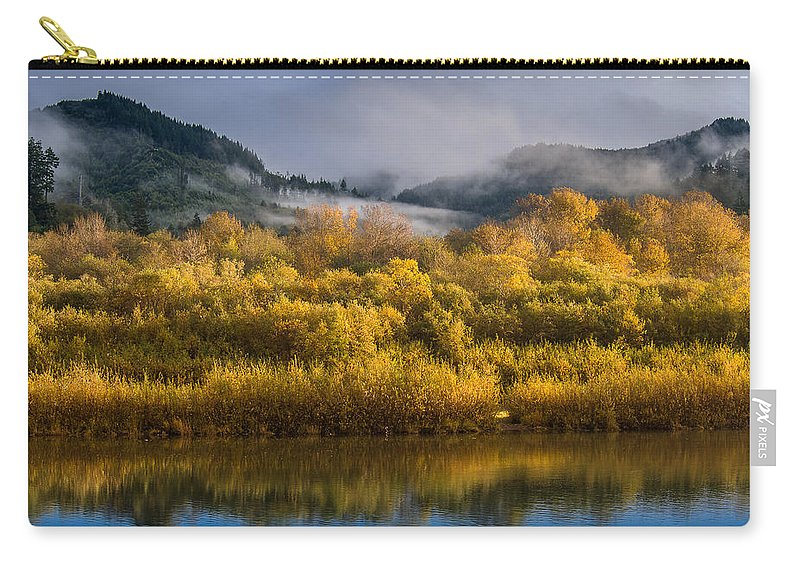 Fog Carry-all Pouch featuring the photograph Autumn On The Klamath 1 by Greg Nyquist