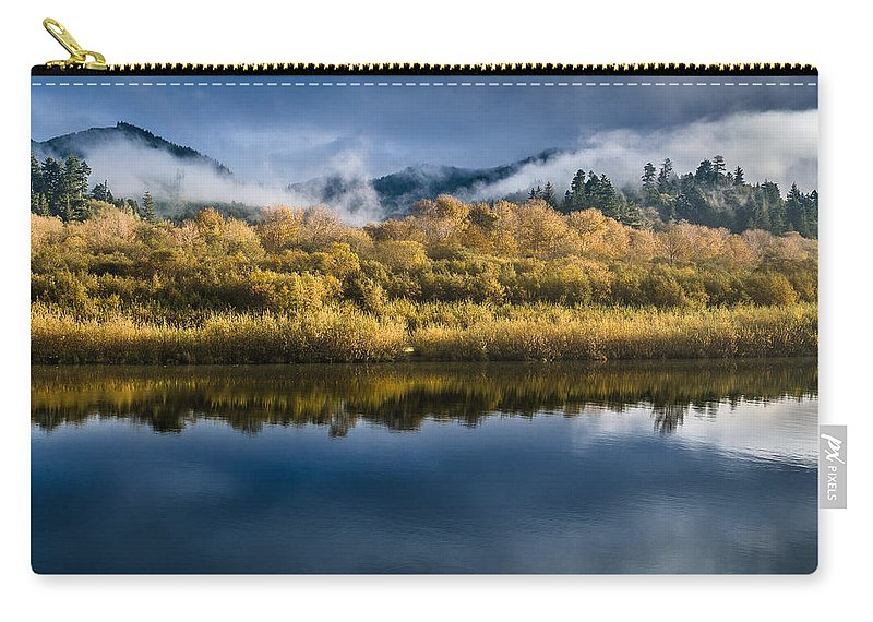 Fog Carry-all Pouch featuring the photograph Autumn On The Klamath 7 by Greg Nyquist