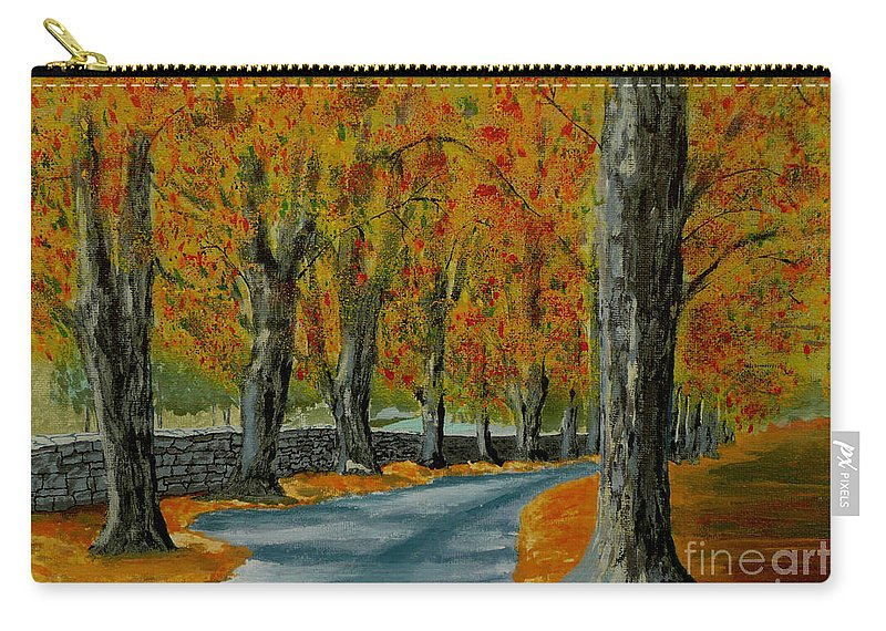 Autumn Carry-all Pouch featuring the painting Autumn Pathway by Anthony Dunphy