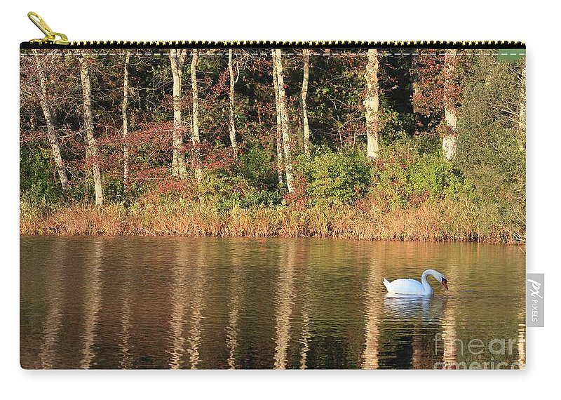 Autumn Carry-all Pouch featuring the photograph Autumn Pond Sunset With Swan by Carol Groenen