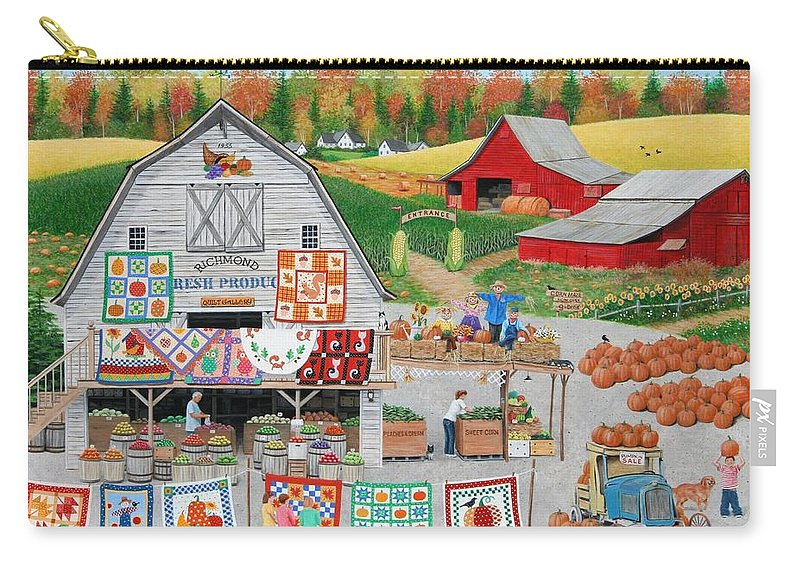 Folkart Carry-all Pouch featuring the painting Autumn Quilts by Wilfrido Limvalencia