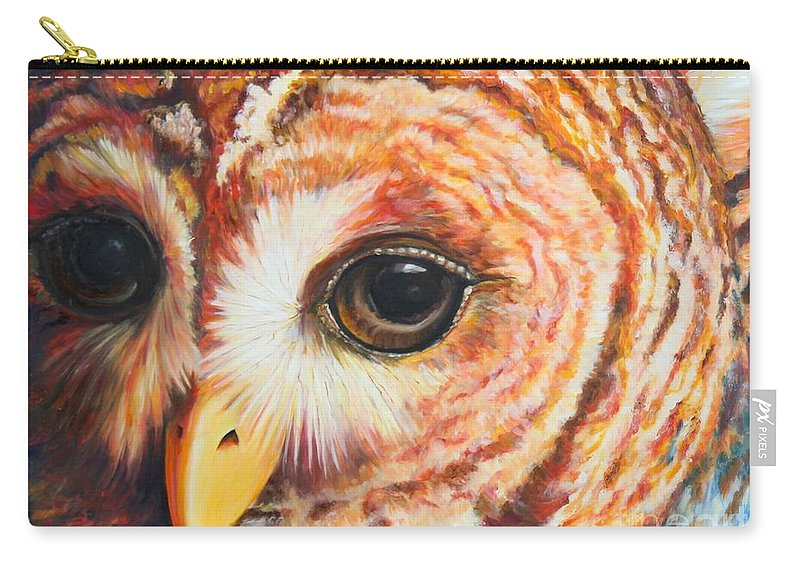 Owl Carry-all Pouch featuring the painting Autumn Rain by Codyrose Bowden