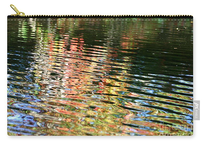 Reflection Carry-all Pouch featuring the photograph Autumn River Water Reflections by Neal Eslinger