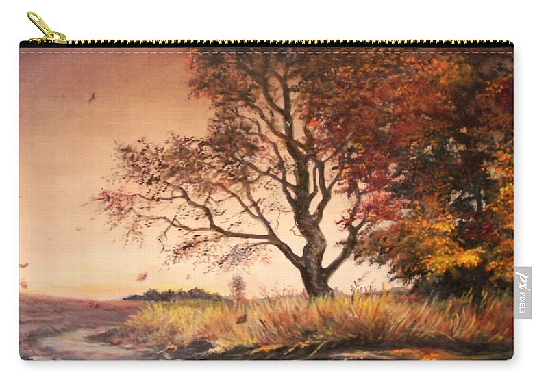 Tree Carry-all Pouch featuring the painting Autumn Simphony In France by Sorin Apostolescu