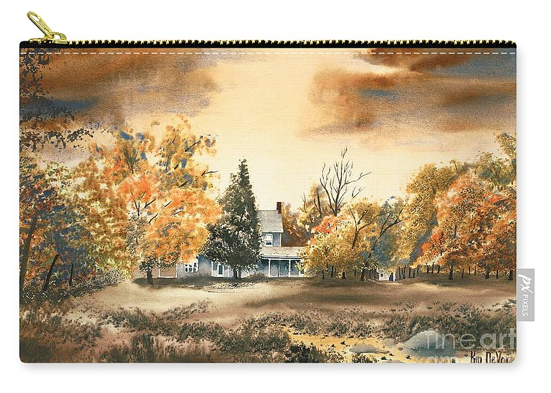 Autumn Sky No W103 Carry-all Pouch featuring the painting Autumn Sky No W103 by Kip DeVore