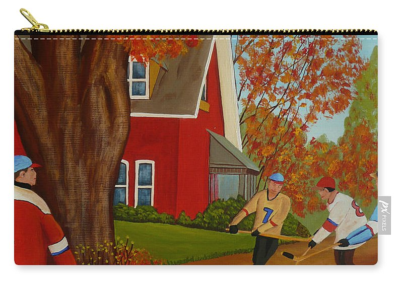 Street Hockey Carry-all Pouch featuring the painting Autumn Street Hockey by Anthony Dunphy