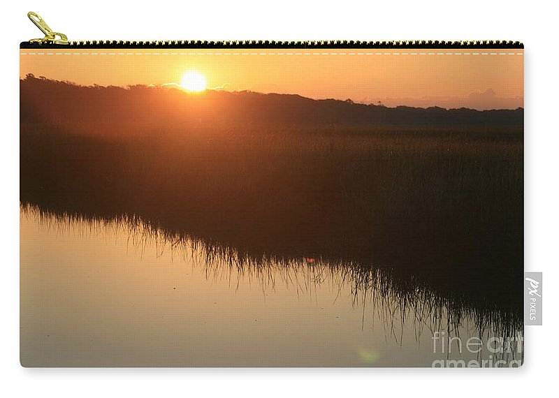 Sunrise Carry-all Pouch featuring the photograph Autumn Sunrise Over The Marsh by Nadine Rippelmeyer