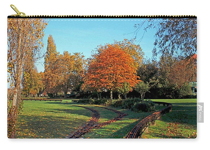 Autumn Woodland Carry-all Pouch featuring the photograph Autumn Tracks by Terri Waters