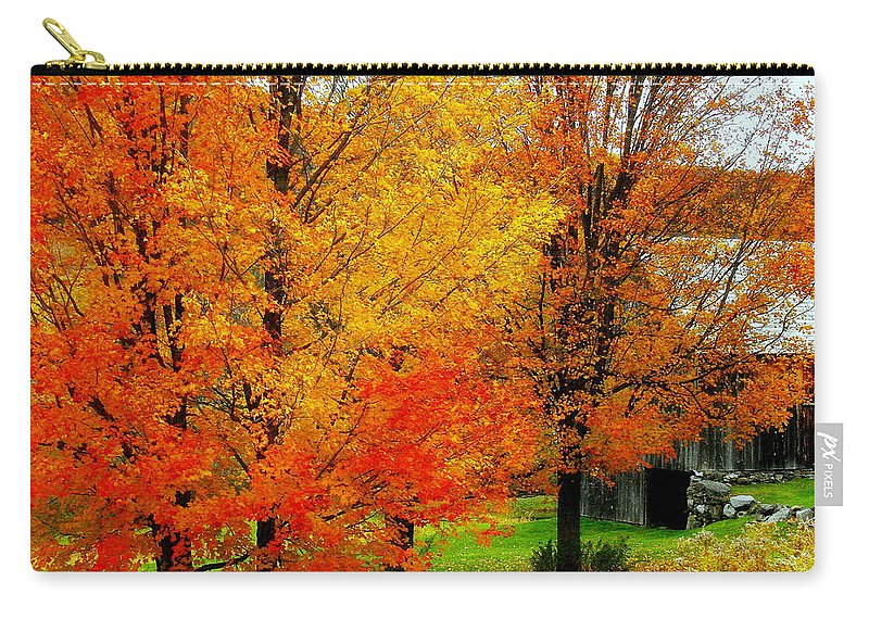 Autumn Carry-all Pouch featuring the photograph Autumn Trees By Barn by Rodney Lee Williams