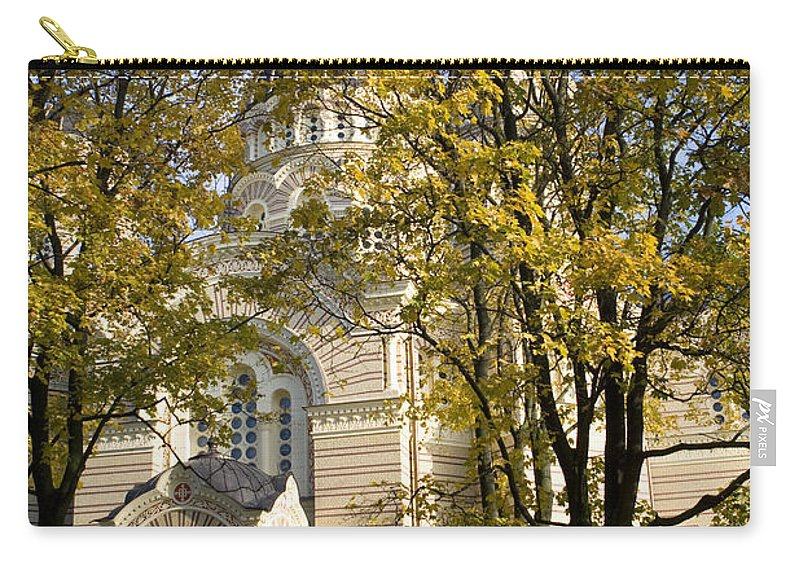 Travel Carry-all Pouch featuring the photograph Autumn Trees In A Park Riga Latvia by Jason O Watson