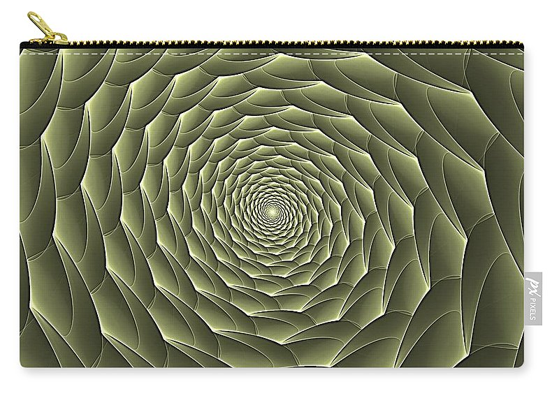 Spiral Descent Carry-all Pouch featuring the digital art Avacado Vertigo Vortex by Doug Morgan