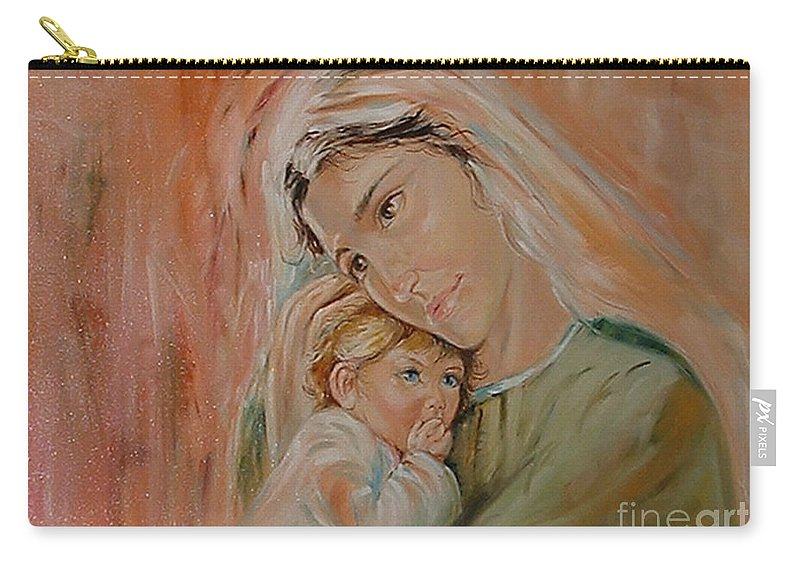 Classic Art Carry-all Pouch featuring the painting Ave Maria by Silvana Abel