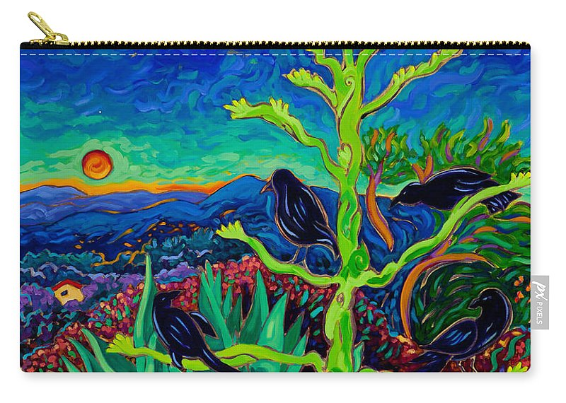 Crows Carry-all Pouch featuring the painting Avian Observatory by Cathy Carey
