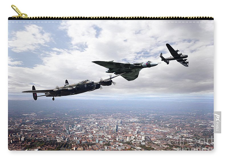 Bomber Carry-all Pouch featuring the digital art Avro Birds by J Biggadike