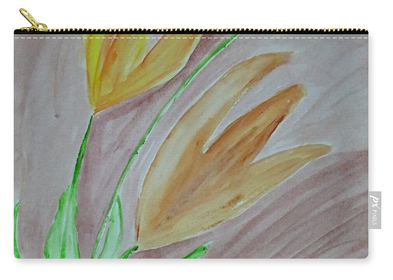Swaying In Breeze Carry-all Pouch featuring the painting Awaiting Spring by Sonali Gangane