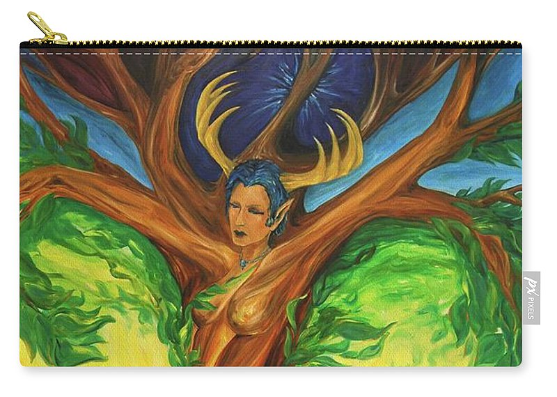 Landscape Carry-all Pouch featuring the painting Awakening The Chakra Tree by Jennifer Christenson